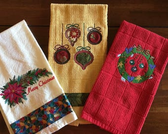 Colorful Embroidered Christmas Kitchen Towel Set