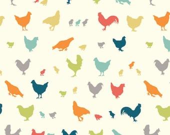 Hen and Friends Multi Poplin - Farm Fresh Collection from Birch Fabrics - Organic Fabrics - Animals Fabrics - Kids Organic Fabrics - Cotton