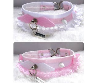 7/8'' pink/white collar with white studs, little angel wings and bows