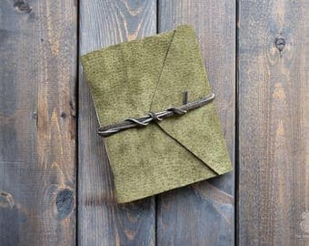 Genuine Leather Watercolour Journal | Olive Green