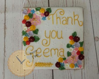 Thank You message iced biscuit | cookie plaque gift