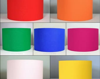 7 vibrant colours, plain scandinavian fabric lampshade, handmade by vivid shades, colours blue pink red orange mustard yellow fuchsia indigo