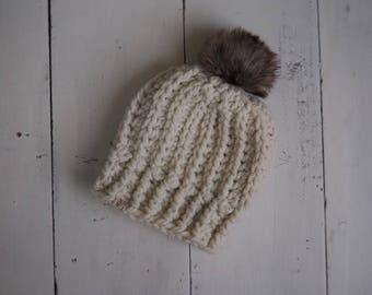 Bridger Beanie in Cream - Adult Crochet Chunky Winter Hat with Faux Fur Pom Pom