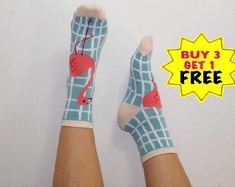 Miami socks , flamingo socks , corton socks , socks , animal socks , gift for him/her , pastel colors ,
