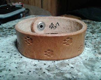 Puppy paw print leather stamped bracelet, handmade