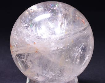 Best Clear Rainbow Quartz Crystal Sphere/Hand Carved Clear Crystal Ball(Size:65mm,390g)#1009