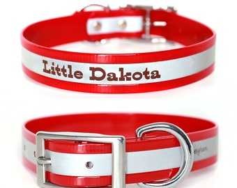 Red Reflective Waterproof Personalized Dog Collar -- Laser Engraved Reflective Waterproof Red Dog Collar