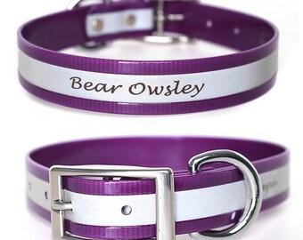 Purple Reflective Waterproof Personalized Dog Collar -- Laser Engraved Reflective Waterproof Purple Dog Collar -- Smell Resistant Purple Dog