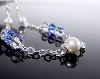 Light Blue Swarovski Crystal Necklace, Blue Bridesmaid Necklace, Baby Blue Necklace, Light Blue Dress Necklace, Blue Formal Necklace