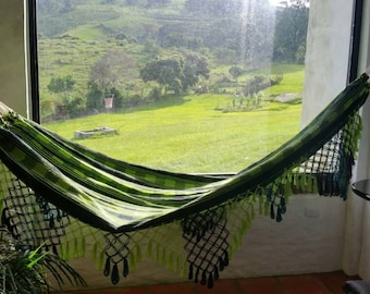 Outdoor hammock, green and black cotton hammock, with hand made Bell Fringe, patio decoration, double hammock