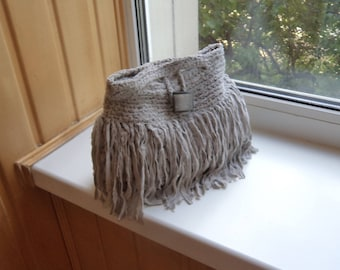 Crocheted gray bag with fringe