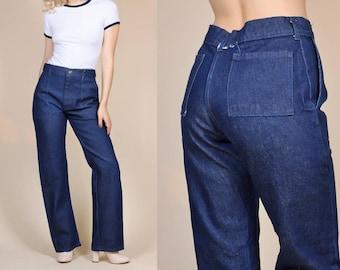 Retro 70s Jeans - Womens Large // Vintage Navy Blue Retro Bootcut Denim Pants