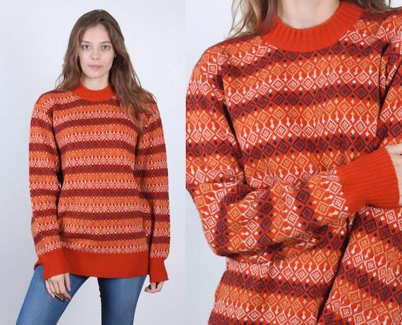 Vintage Fair Isle Sweater // 70s 80s Oversized Orange Striped