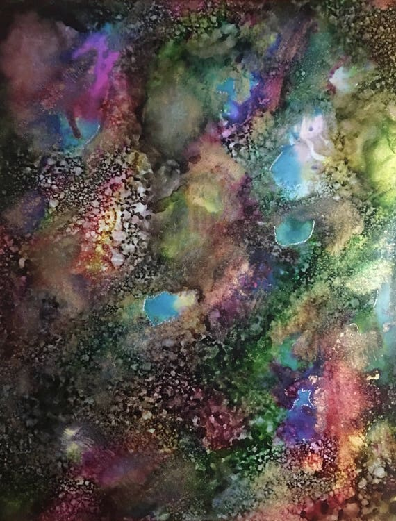 "Original Alcohol Ink Abstract Painting: ""Faeries Are Real"" (11"" X 14"")"