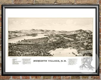 Meredith Village, New Hampshire Art Print From 1889-Digitally Restored Old Meredith Village,NH Map-Perfect For Fans Of New Hampshire History