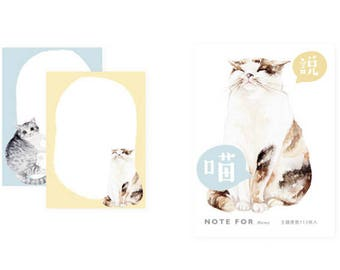 Note pad/cat illustration/yellow and blue