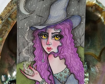 Original Purple Hair Witch Magic Drawing Artist Trading Card