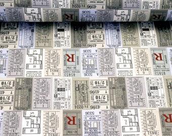 Grey Ticket Cotton Print Fabric