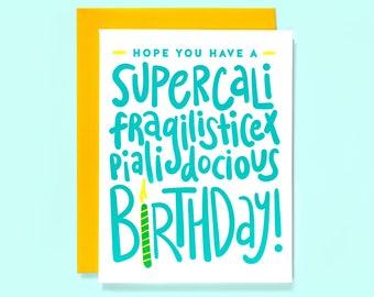 Mary Poppins Birthday Card - Disney Birthday Card - Friend Birthday Card - Mary Poppins Card - Disney - Supercalifragilisticexpialiadocious