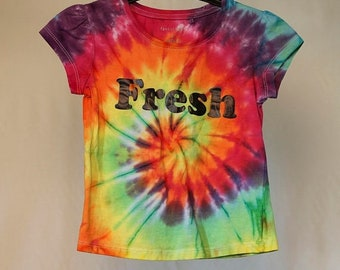 25% OFF ENTIRE SHOP Size 6  - Fresh - Ready To Ship - Girls - Children - Kids - Iced Tie Dyed T-shirt - 100 Percent Cotton - Free Shipping w