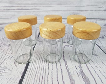 Vintage Set of 6 Glass Spice Jars w/ Wood Lids Retro Modern Mid Century Kitchen Decor Industrial Cottage Decor Farmhouse