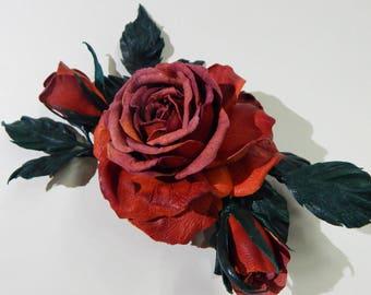 Brooch Rose Orange