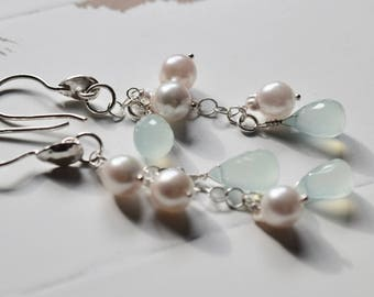 Aqua Chalcedony and GENUINE Akoya Saltwater Pearl Earrings~ Bridal Earrings, Bridal Jewelry~ High End Pearls and Stones