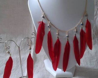 """red feathers and pearls wedding"" set"