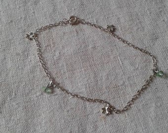 Green Pearl and silver anklet