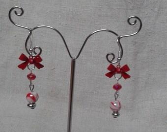 """""""red metal knot"""" earrings"""