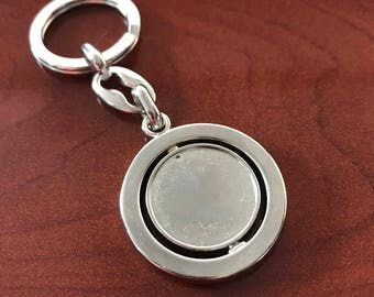 Silver Platted Blank Spinning Key chain - Pack of 6