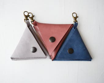 Leather coin purse/ Green/ Money pouch/ Change purse/ Gift/ Small purse/ Leather