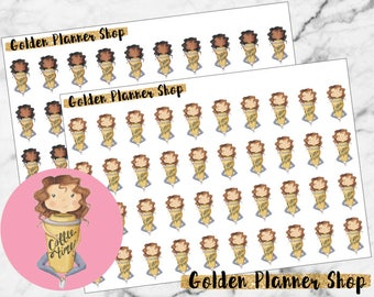 Coffee Addict Character Planner Stickers - Sophie and Amanda