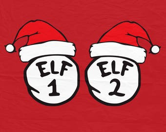 Elf 1 Elf 2, Thing 1 Thing2, Santa hat, Christmas svg, Silhouette Cut Files