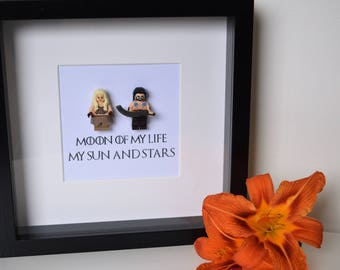 Shadow Box Frame//Game of Thrones//Khal Drogo//Daenerys Targaryen//Minifigure//Lego//Gift//Personalise//Love//Engagement//Anniversary//Geek