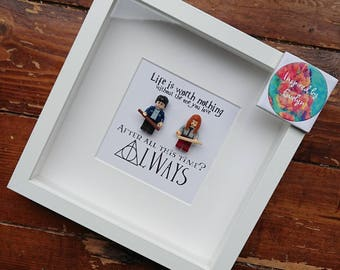 Shadow Box Frame//Harry Potter//Minifigure//Ronald Weasley//Hermionie Granger//Gift//Personalise/Geek/Love/Wedding/Anniversary//Always//Lego