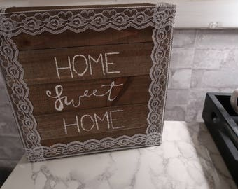 "Hand-painted ""Home Sweet Home"" Wall Art with Lace Detail"