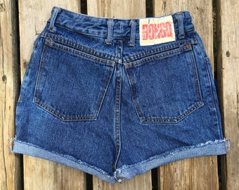 "Very High Waisted Bongo 26"" Waist Button Fly Vintage Jean Shorts"