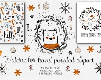 Watercolor Christmas Clipart. Christmas Clipart, Watercolor Clipart, Treats Digital Clip Art, Unique Holiday Printables.  card template,