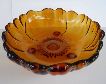 Large Colony Amber Glass Bowl Indiana Glass