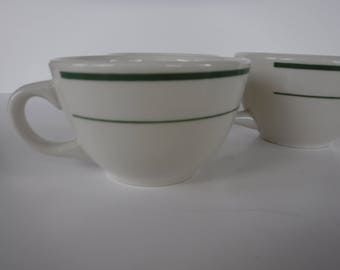 Buffalo China USA Diner Restaurant Ware 3 Coffee Cups Mugs Green Bands