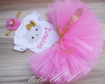 Personalized Pink Kitty - Birthday Outfit - Gold and Pink Tutu - Pink Tutu Dress - Personalized Tutu Dress - Birthday Hello Kitty Pink Tutu
