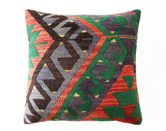 "Turkish Kilim Pillow, Violet  Kilim, Deco Pillow, Boho Pillow, Nomadic Pillow, Ikat Pillow, Suzani Pillow, Kilim Pouf 50 x 50 cm / 20"" x 20"""