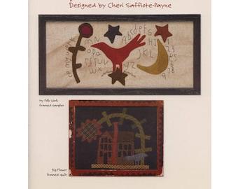 Wool Folk Art book by Cheri Payne -  Wool applique primitive pictures