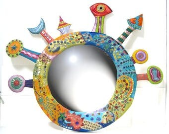"""""""Generous planet"""" mosaic mirror and paint 90x105cm"""