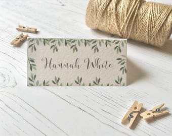 Botanical Green Place Cards - Wedding Name Cards  - Reception Table Decor