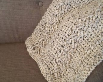 Wheat Cable-Knit Chunky Throw