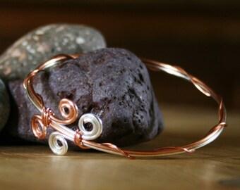 Copper bracelet, silver bangle, copper bangle, modern bangle, contemporary bangle, Two tone bangle, spiral bracelet, bracelet,