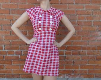1960s red gingham mini dress