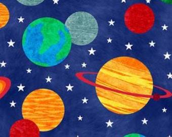 Solar System Printed Fleece Tied Blanket
